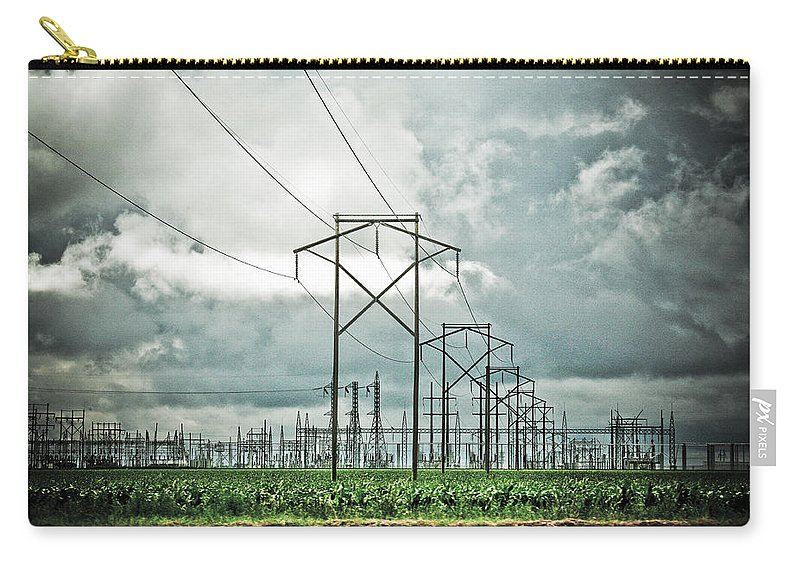 Electric Carry-all Pouch featuring the photograph Electric Lines And Weather by Marilyn Hunt