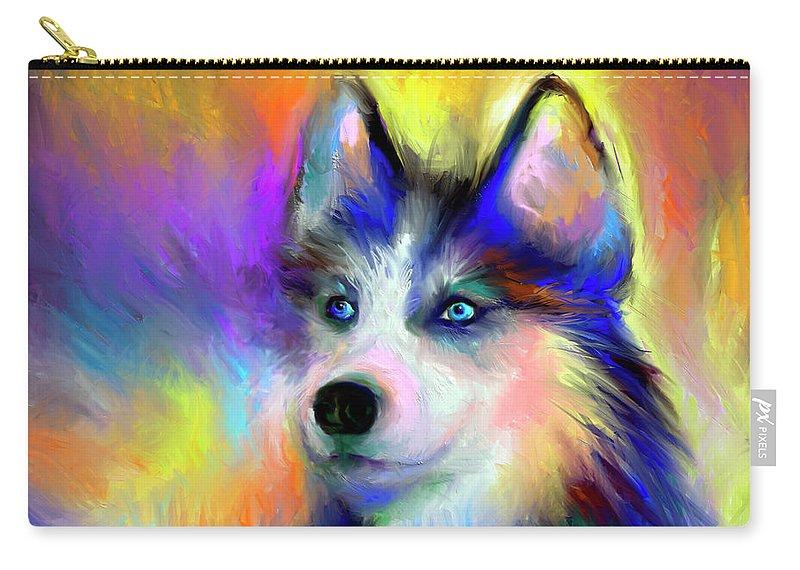 Siberian Husky Portrait Print Carry-all Pouch featuring the painting Electric Siberian Husky Dog Painting by Svetlana Novikova