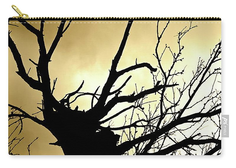 Abstract Carry-all Pouch featuring the photograph Electric Tree Black And Gold by Bonnie See