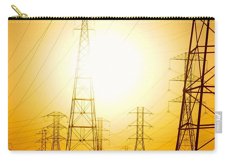 Sun Carry-all Pouch featuring the photograph Electricity Towers by Alex King