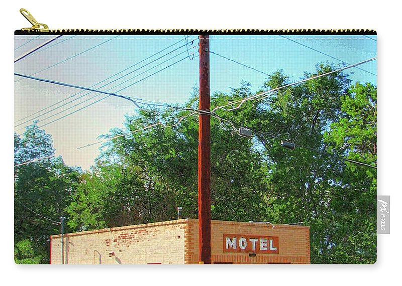 Old Motel Carry-all Pouch featuring the mixed media Electromagnetic Motel by Dominic Piperata