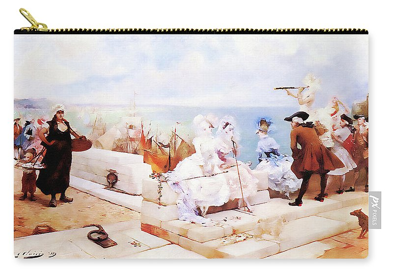 Landscape Carry-all Pouch featuring the painting Elegant Figures Watching The Regatta by Media Impasto Paper