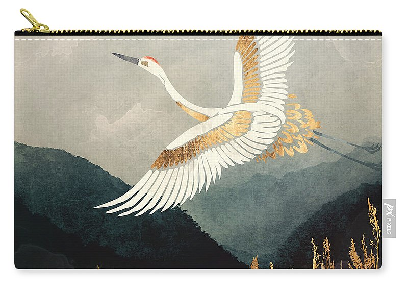 Crane Carry-all Pouch featuring the digital art Elegant Flight by Spacefrog Designs