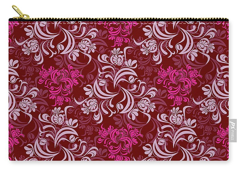 Elegant Carry-all Pouch featuring the digital art Elegant Red Floral Design by Long Shot