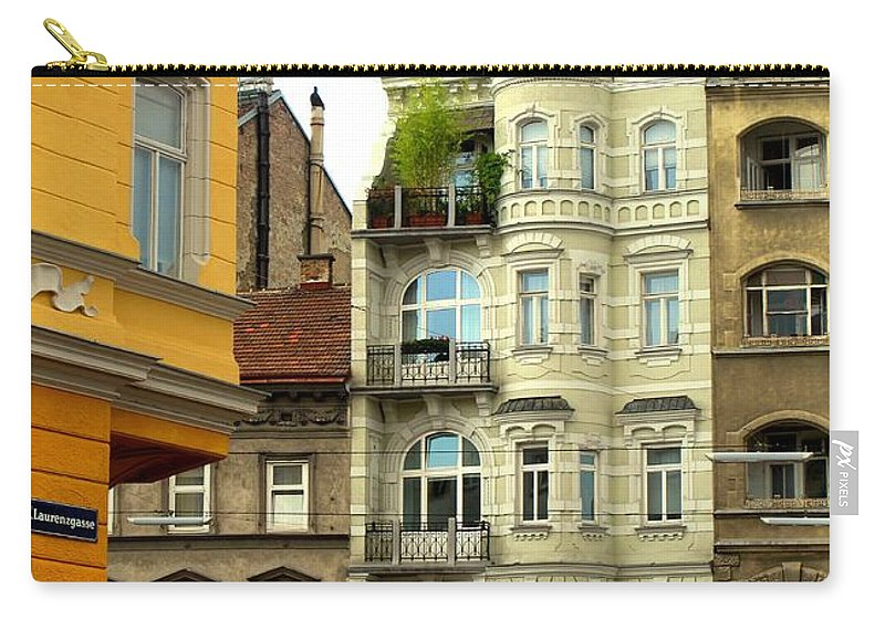 Vienna Carry-all Pouch featuring the photograph Elegant Vienna Apartment Building by Ian MacDonald