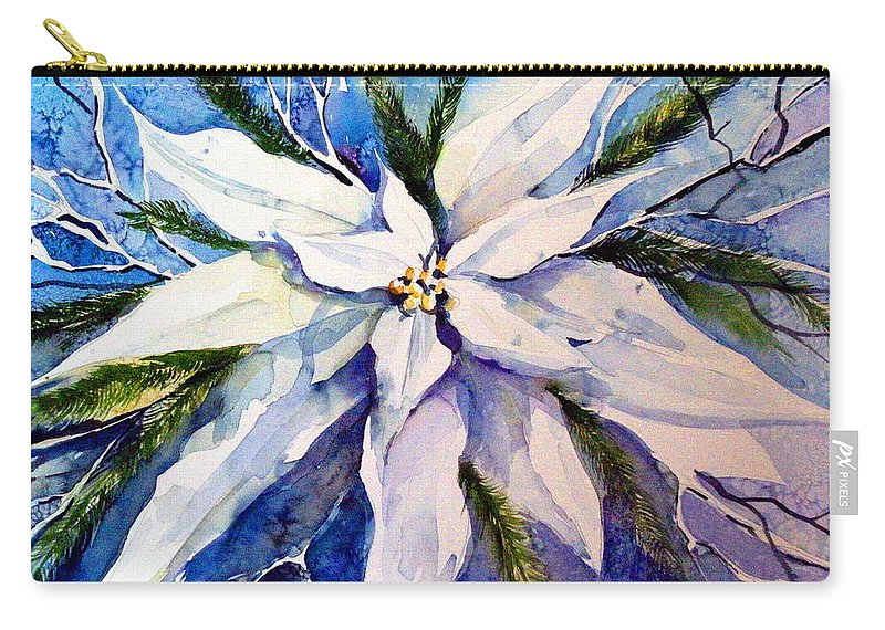 Christmas Carry-all Pouch featuring the painting Elegant White Christmas by Mindy Newman