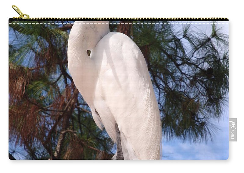 Bird Carry-all Pouch featuring the photograph Elegant White Crane by Kim Chernecky
