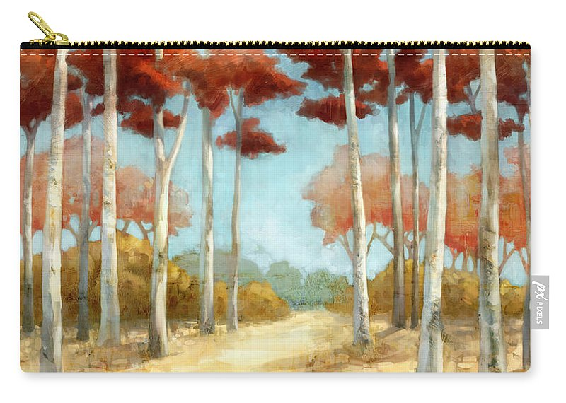Red Leaves Carry-all Pouch featuring the painting Elegantredforest by Mauro DeVereaux