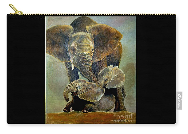 Africa Carry-all Pouch featuring the painting Elephant Familly by Peter Kulik