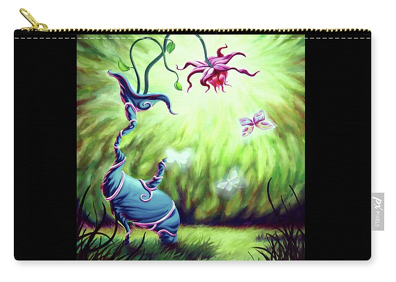 Elephant Flower Carry-all Pouch featuring the painting Elephant Flower by Jennifer McDuffie