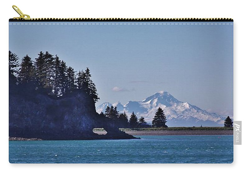 Seldovia Alaska Carry-all Pouch featuring the photograph Elephant Island With Mount Iliamna by Lori Mahaffey