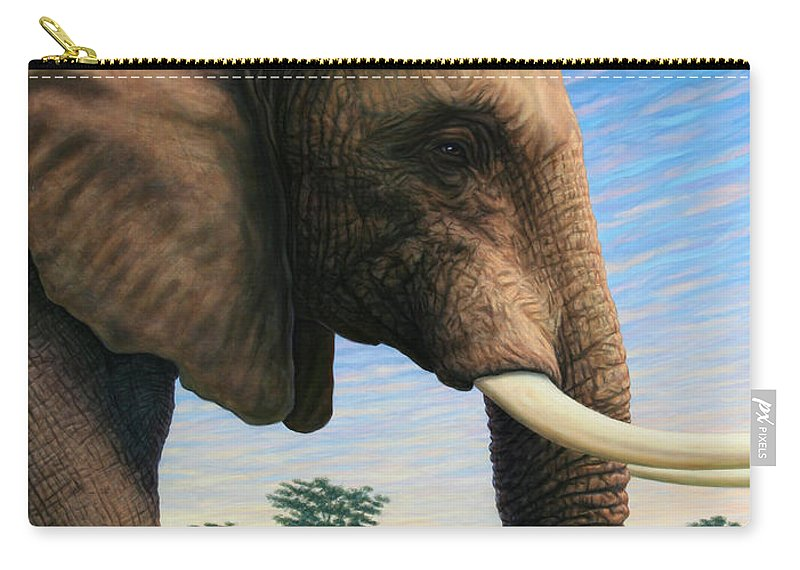 Elephant Carry-all Pouch featuring the painting Elephant On Safari by James W Johnson