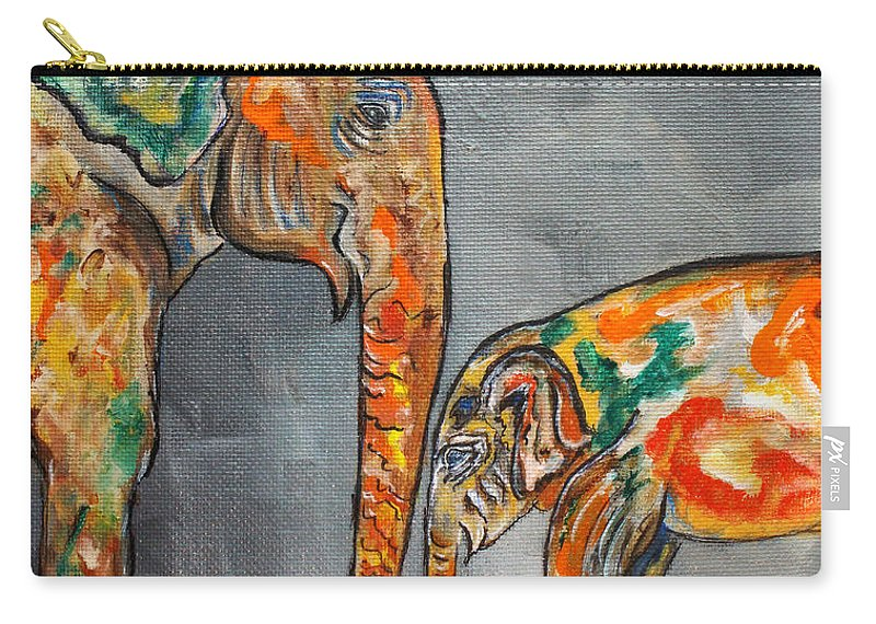 Elephant Carry-all Pouch featuring the painting Elephant Play Day by Ella Kaye Dickey