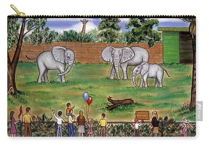 Zoo Carry-all Pouch featuring the painting Elephants At The Zoo by Linda Mears