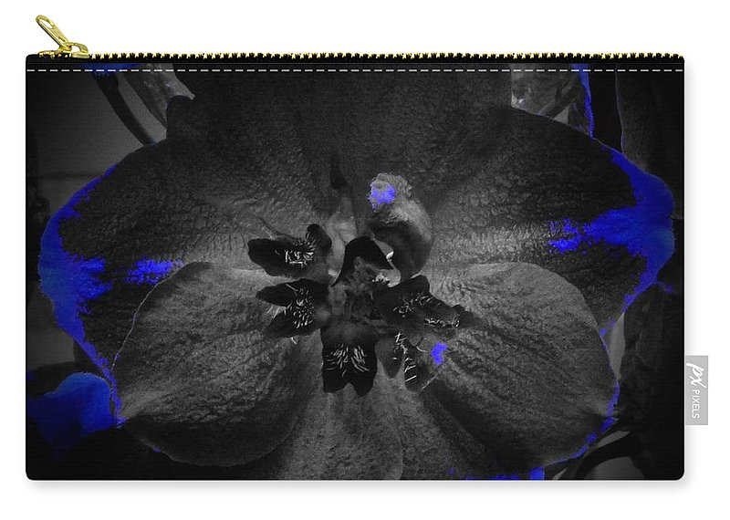 Monochrome Carry-all Pouch featuring the photograph Elfin Princess With Dash Of Blue by Tim G Ross