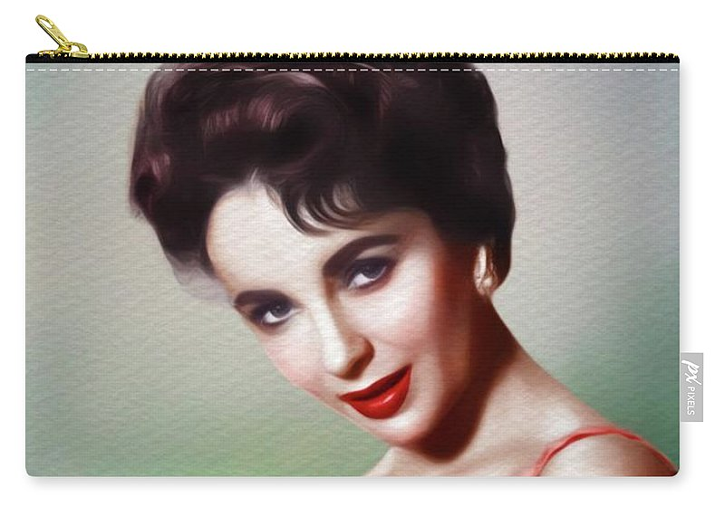 Elizabeth Carry-all Pouch featuring the painting Elizabeth Taylor, Vintage Movie Star by Mary Bassett