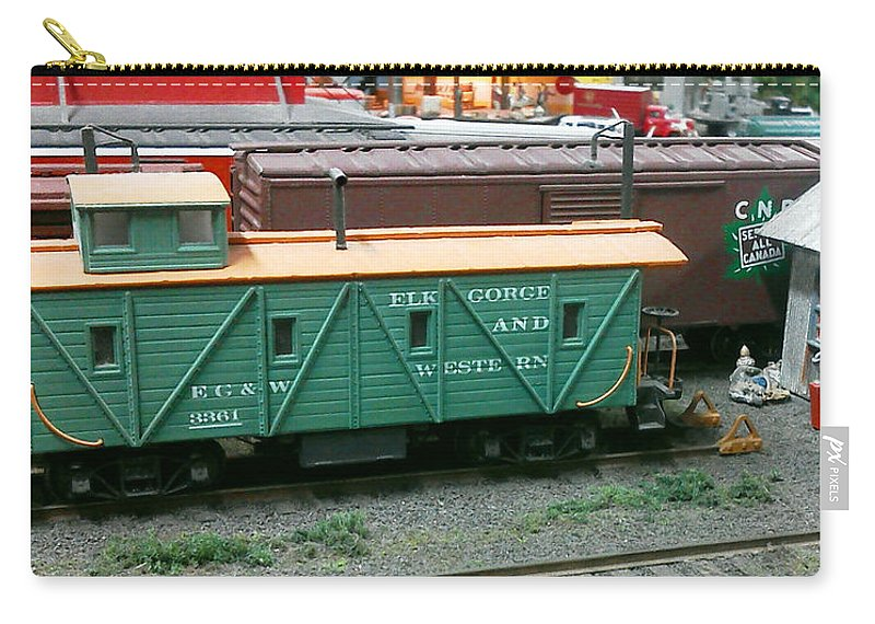 Blue Carry-all Pouch featuring the photograph Elk Gorge And Western Caboose by Pat Turner