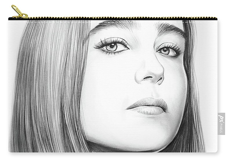 Ellen Page Carry-all Pouch featuring the drawing Ellen Page by Greg Joens