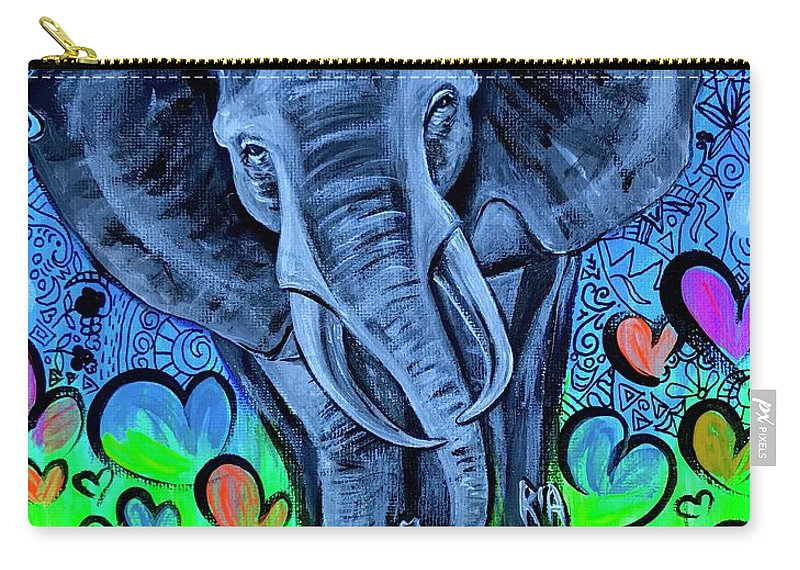 Elephant Carry-all Pouch featuring the painting Elley by Artist RiA