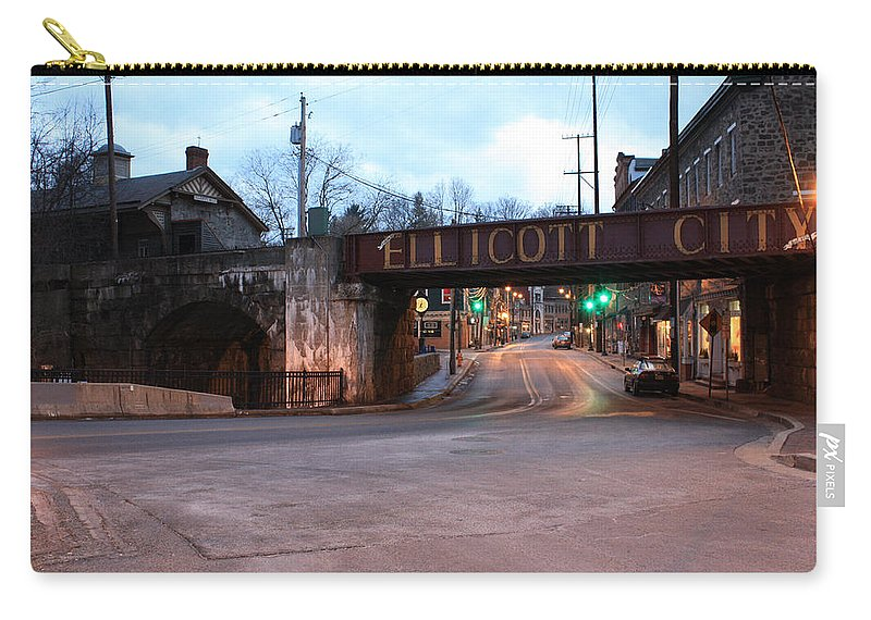 Ellicott Carry-all Pouch featuring the photograph Ellicott City Nights - Entrance To Main Street by Ronald Reid