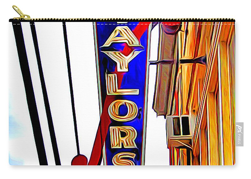 Ellicott Carry-all Pouch featuring the digital art Ellicott City Taylor's Sign by Stephen Younts