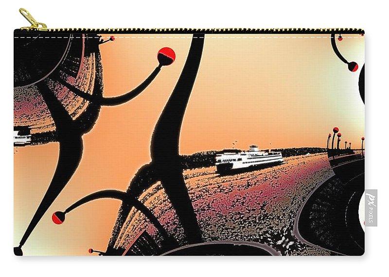 Seattle Carry-all Pouch featuring the digital art Elliott Bay Ferry Fractal by Tim Allen