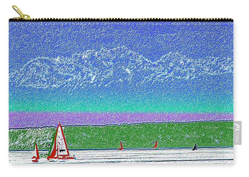 Seattle Carry-all Pouch featuring the digital art Elliott Bay Sail by Tim Allen
