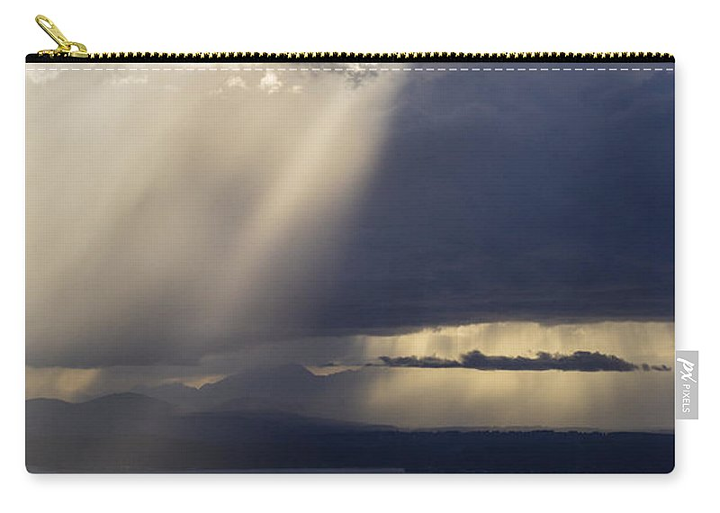 Seattle Carry-all Pouch featuring the photograph Elliott Bay Storm Clouds Ferry by Mike Reid