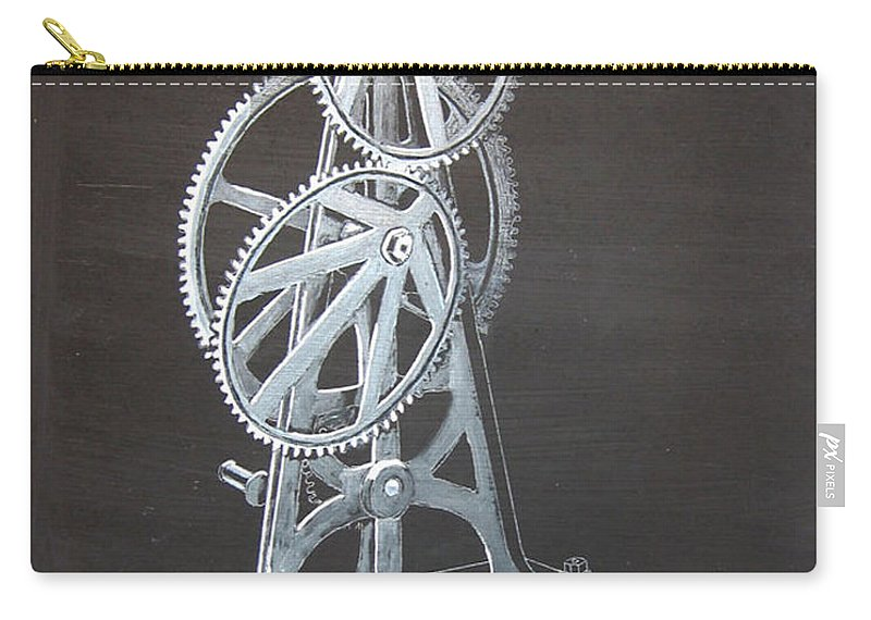 Elliptical Gears Carry-all Pouch featuring the painting Elliptical Gears by Richard Le Page