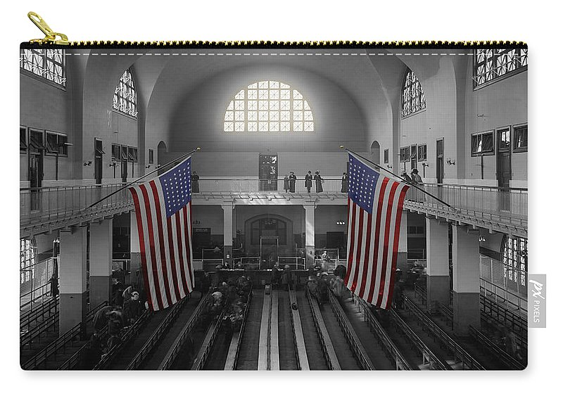 Immigrants Carry-all Pouch featuring the photograph Ellis Island by Andrew Fare