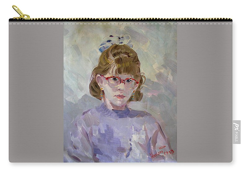 Portrait Carry-all Pouch featuring the painting Elona by Ylli Haruni