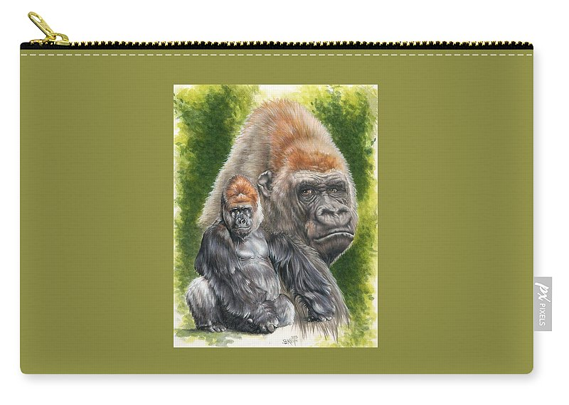 Gorilla Carry-all Pouch featuring the mixed media Eloquent by Barbara Keith