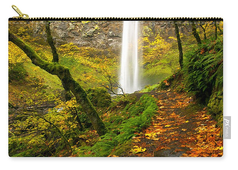 Elowah Falls Carry-all Pouch featuring the photograph Elowah Autumn Trail by Mike Dawson