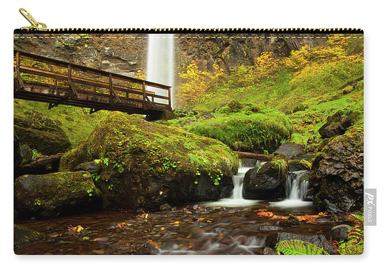 Elowah Falls Carry-all Pouch featuring the photograph Elowah Perspective by Mike Dawson