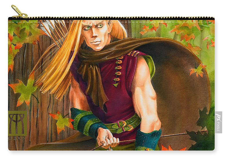 Elf Carry-all Pouch featuring the painting Elven Hunter by Melissa A Benson