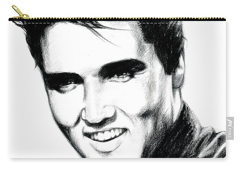 Elvis Carry-all Pouch featuring the drawing Elvis by Lin Petershagen