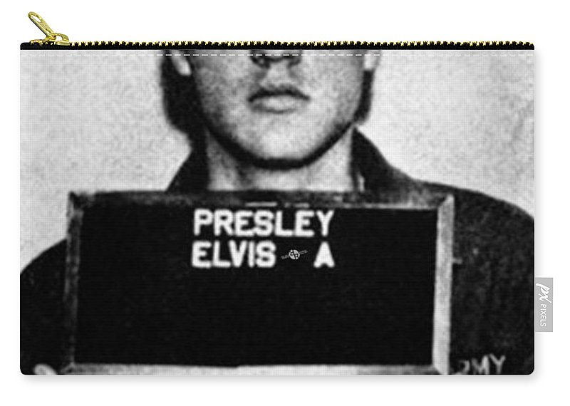 Elvis Presley Carry-all Pouch featuring the painting Elvis Presley Mug Shot Vertical 1 by Tony Rubino