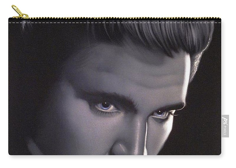 Velvet Painting Carry-all Pouch featuring the painting Elvis Presley Portrait by Ramirez
