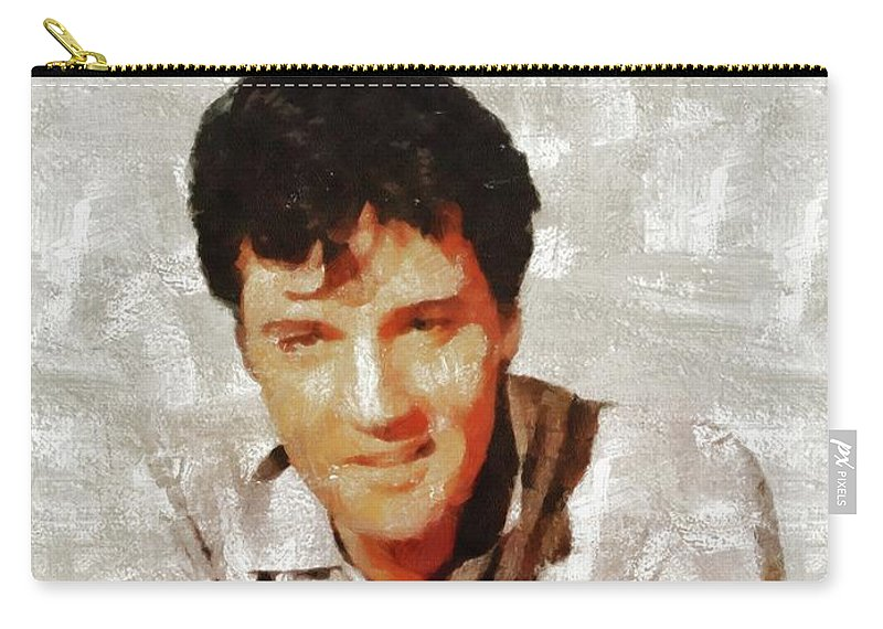 Music Carry-all Pouch featuring the painting Elvis Presley Y Mb by Mary Bassett
