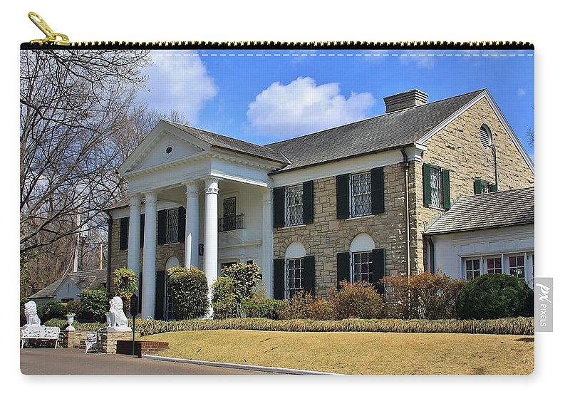 Graceland Carry-all Pouch featuring the photograph Elvis Presley's Graceland by Christopher Miles Carter