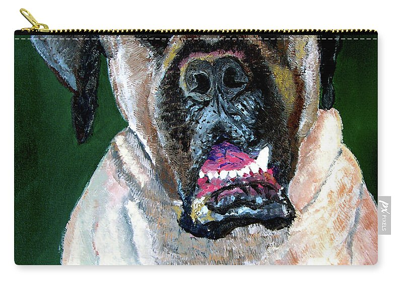 Dog Portrait Carry-all Pouch featuring the painting Ely by Stan Hamilton