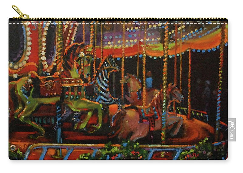 Merry-go-round Carry-all Pouch featuring the painting Embellished Carousel by BJ Lane