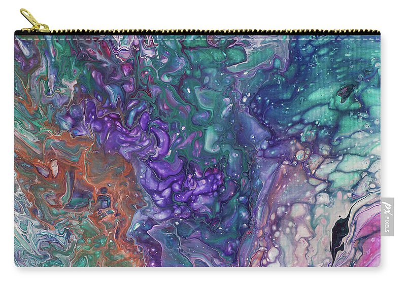Jenny Rainbow Fine Art Photography Carry-all Pouch featuring the painting Emerald And Amethyst. Abstract Fluid Acrylic Painting by Jenny Rainbow
