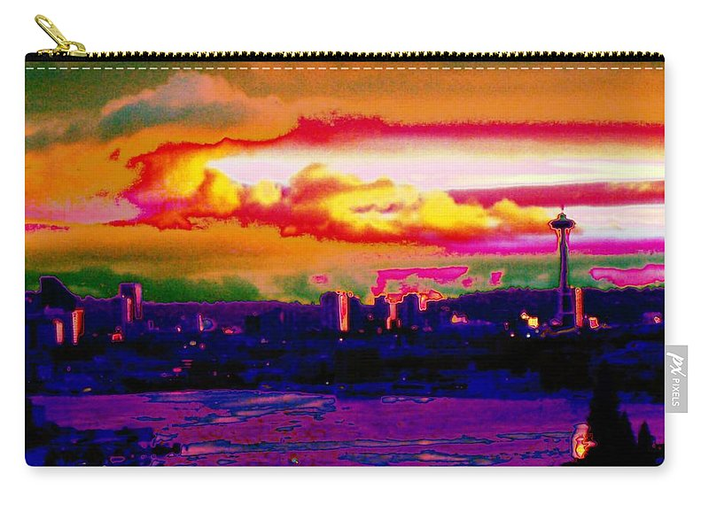 Seattle Carry-all Pouch featuring the photograph Emerald City Sunset by Tim Allen