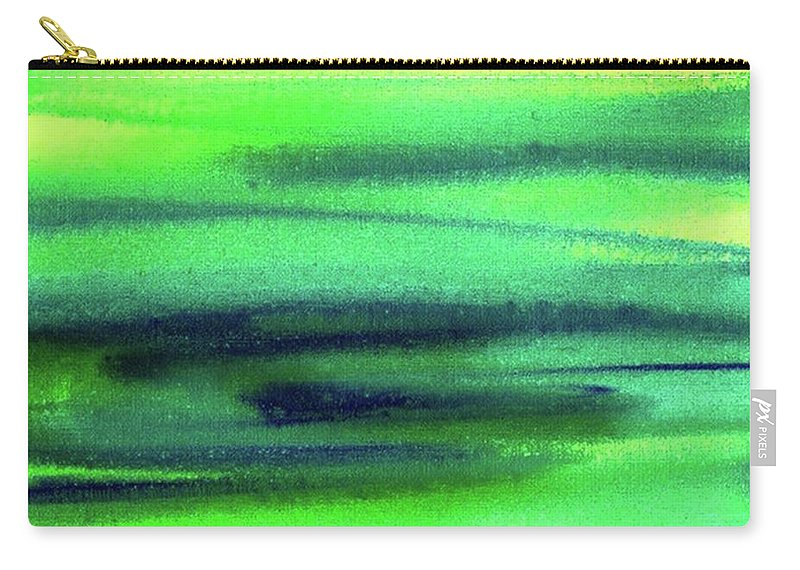 Emerald Carry-all Pouch featuring the painting Emerald Flow Abstract Painting by Irina Sztukowski