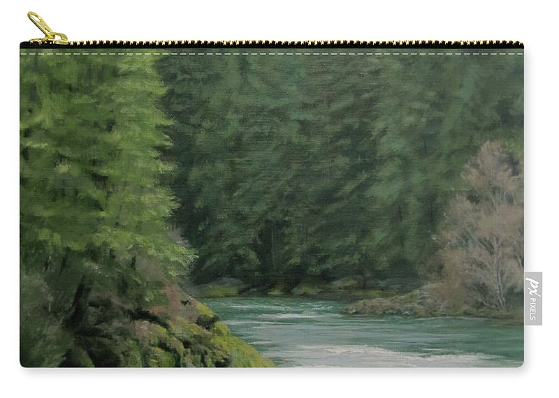 Forest Carry-all Pouch featuring the painting Emerald Forest by Karen Ilari