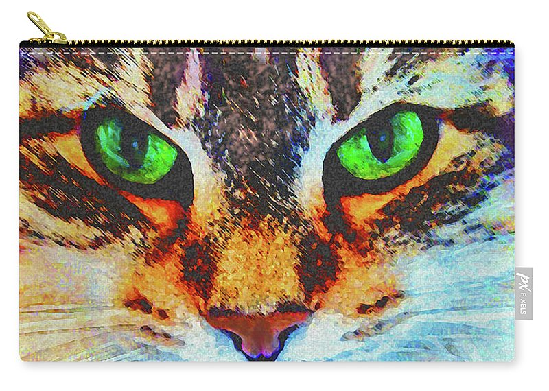 Emerald Gaze Carry-all Pouch featuring the digital art Emerald Gaze by John Beck