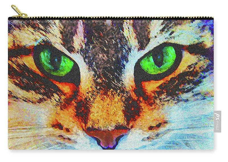 Emerald Gaze Carry-all Pouch featuring the digital art Emerald Gaze by John Beck