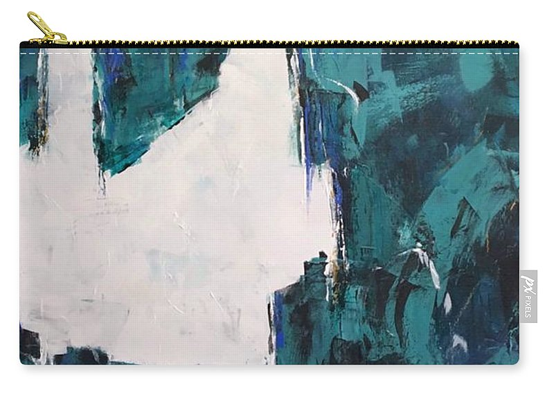 Abstract Art Carry-all Pouch featuring the painting Emerald Isle by Suzzanna Frank