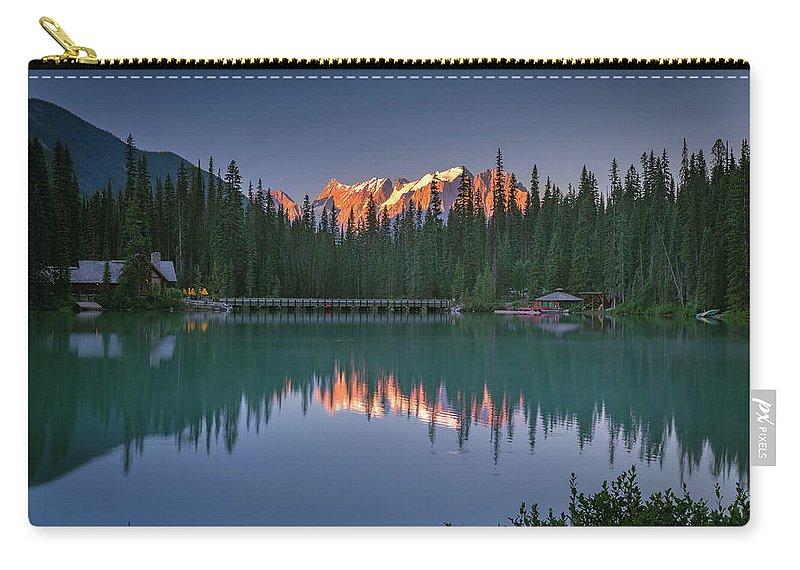 Emerald Carry-all Pouch featuring the photograph Emerald Lake At Sunrise Hour by William Freebilly photography